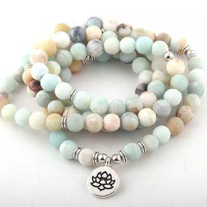 Amazonite Lotus 108 Mala bead necklace bracelet